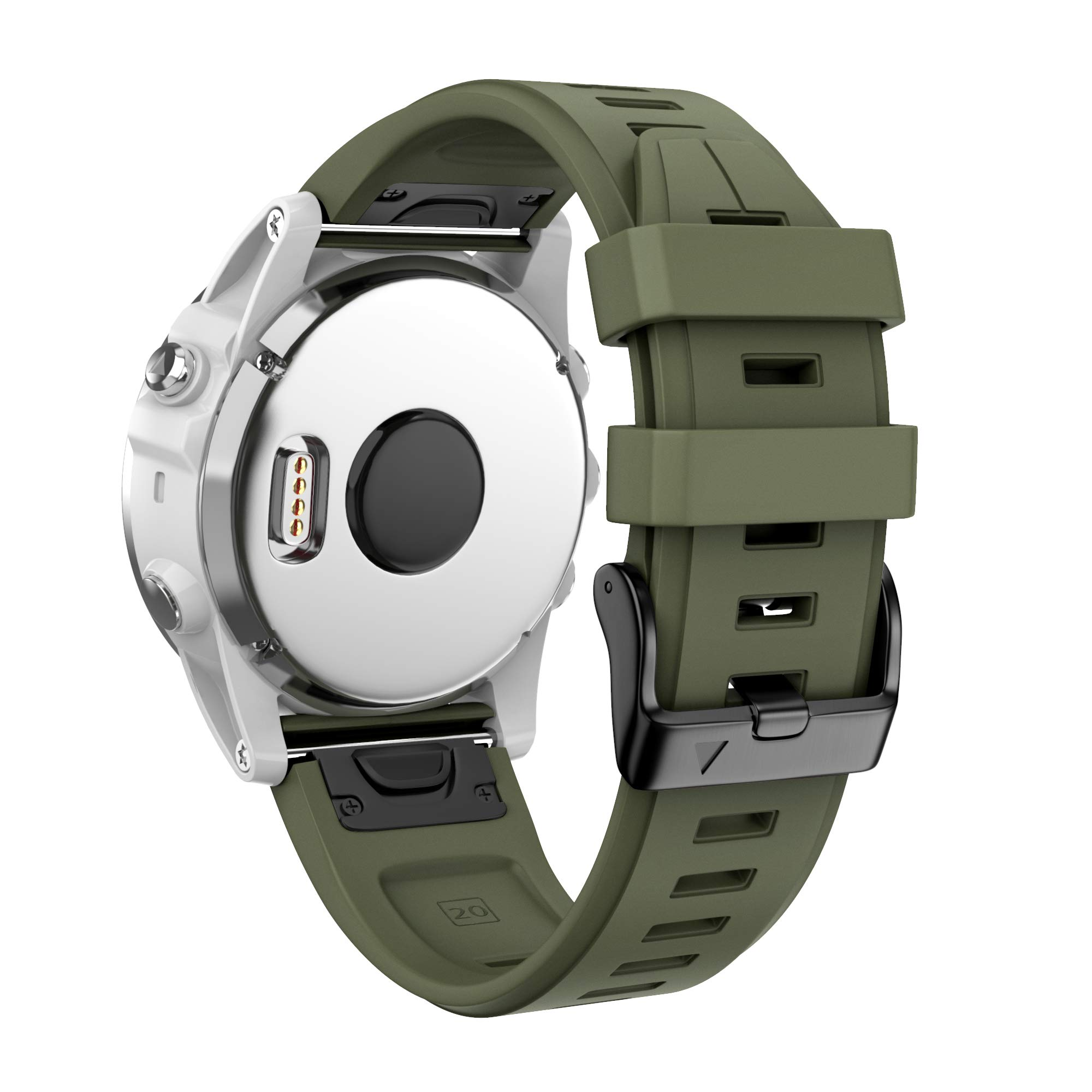 ANCOOL Compatible with Fenix 5S Plus Bands 20mm Width Easy Fit Soft Silicone Watch Bands Replacement for Fenix 6S/Fenix 6S Pro/Fenix 5S Smartwatches, Olive Green by ANCOOL