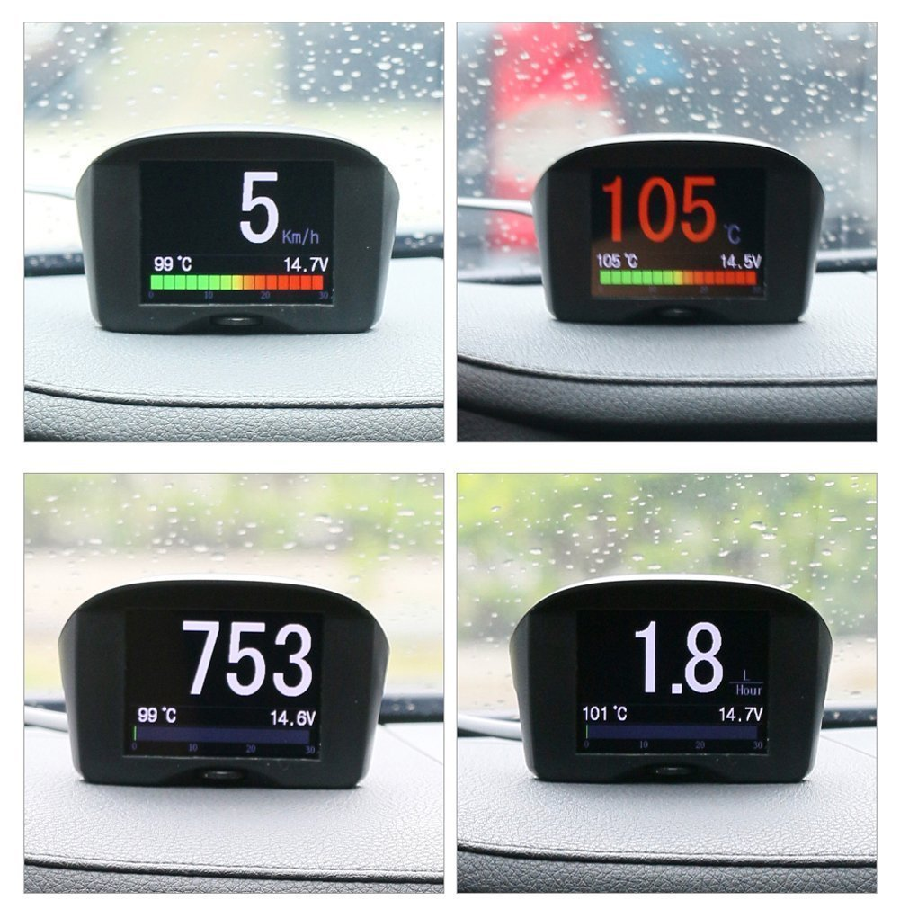 AUTOOL Car OBDII Digital KMH/MPH Speedometer & Overspeed Alarm Auto Voltage Meter Water Temperature Gauge with LCD Display for 12V Most Petrol & Diesel AT-X50-PLUS