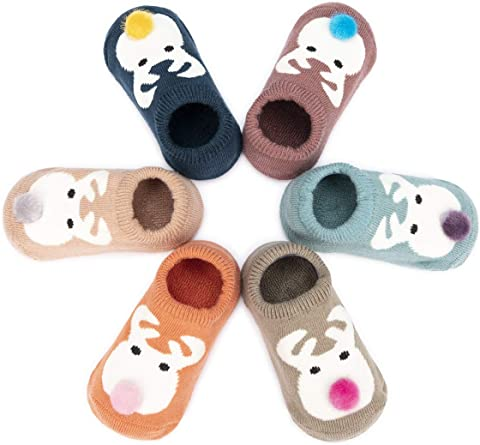 OKSakady 3 Pairs Baby Girls Winter Thicken Floor Socks Infant Boys Anti-Slip Cartoon Animal Slipper Socks Shoes 0-19 Month