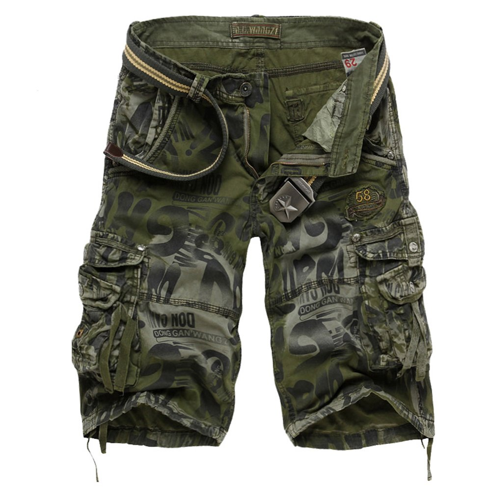 NiuZi Mens Loose Fit Cargo Shorts Camo Multi Pockets Summer Outdoor Wear Camouflage Pants (Army Green Camo, US 32(Lable 34))