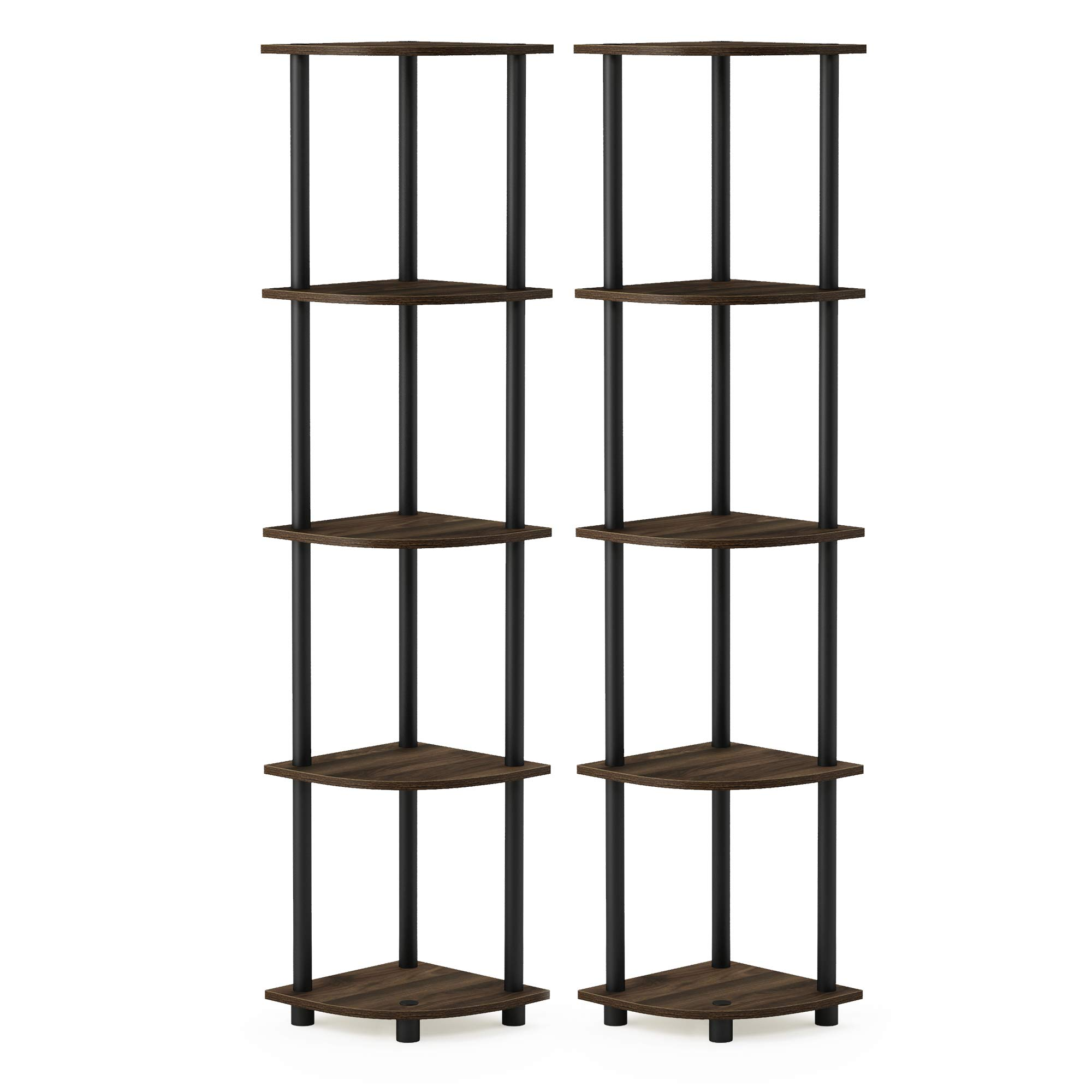 Furinno 2-99811CWN Turn-N-Tube 5 Tier Corner Display Rack 2 Pack, Columbia Walnut/Black