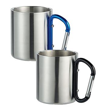 2 pcs doble pared de acero inoxidable de la taza de café con gancho para fijación en una mochila con negro y azul con mosquetón de regalo-Shopping