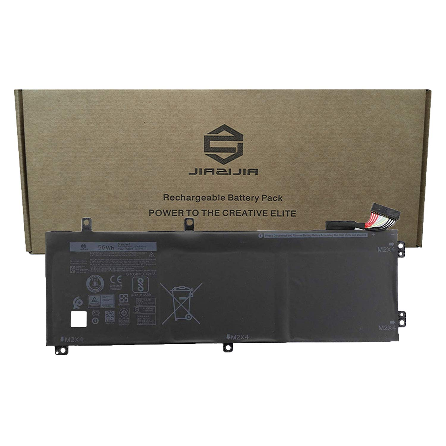 JIAZIJIA Compatible Laptop Battery with Dell H5H20 [11.4V 56Wh 4946mAh 3-Cell] XPS 15 9560 9570 Precision 5520 M5520 Series Notebook 6GPTY 62MJV M7R96 Black - 1 Year Warranty by JIAZIJIA (Image #1)