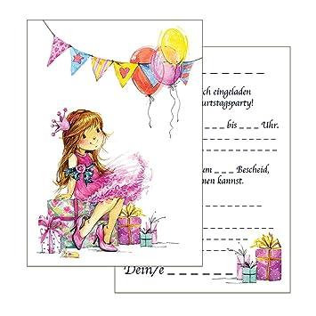 Set 15 Einladungskarten Kindergeburtstag Prinzessin