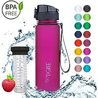 """720°DGREE Trinkflasche Kinder """"uberBottle"""" - 500ml - Schlanke Wasserflasche, Schmale Sportflasche - Auslaufsicher für Schule, Kinder & Sport - BPA-Frei - Mit Fruchteinsatz"""