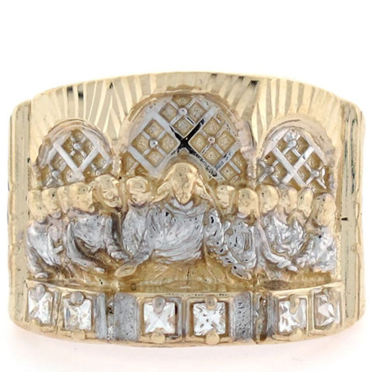10k Two-Tone Gold Religious Jesus Last Supper Mens Ring