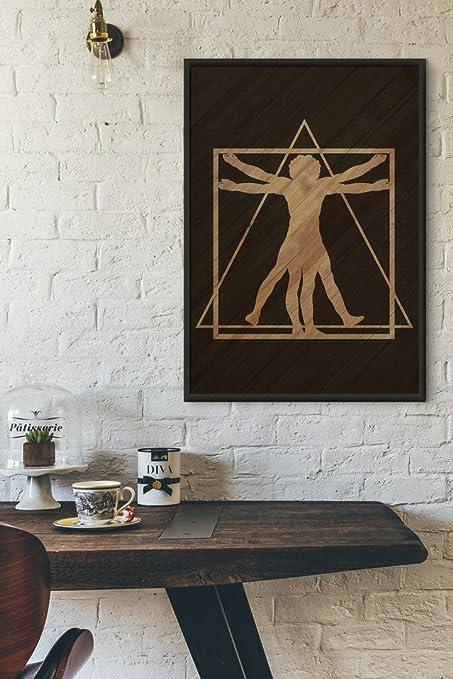 Amazon Com Woodboz Vitruvius Men Wood Burn Wall Art 92x62x2 Cm