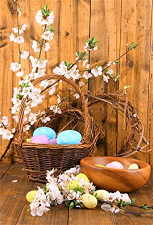 AOFOTO 6x8ft Easter Eggs And Basket Background Blooming Branch Flowers On Rustic Wooden Board Photography Backdrop