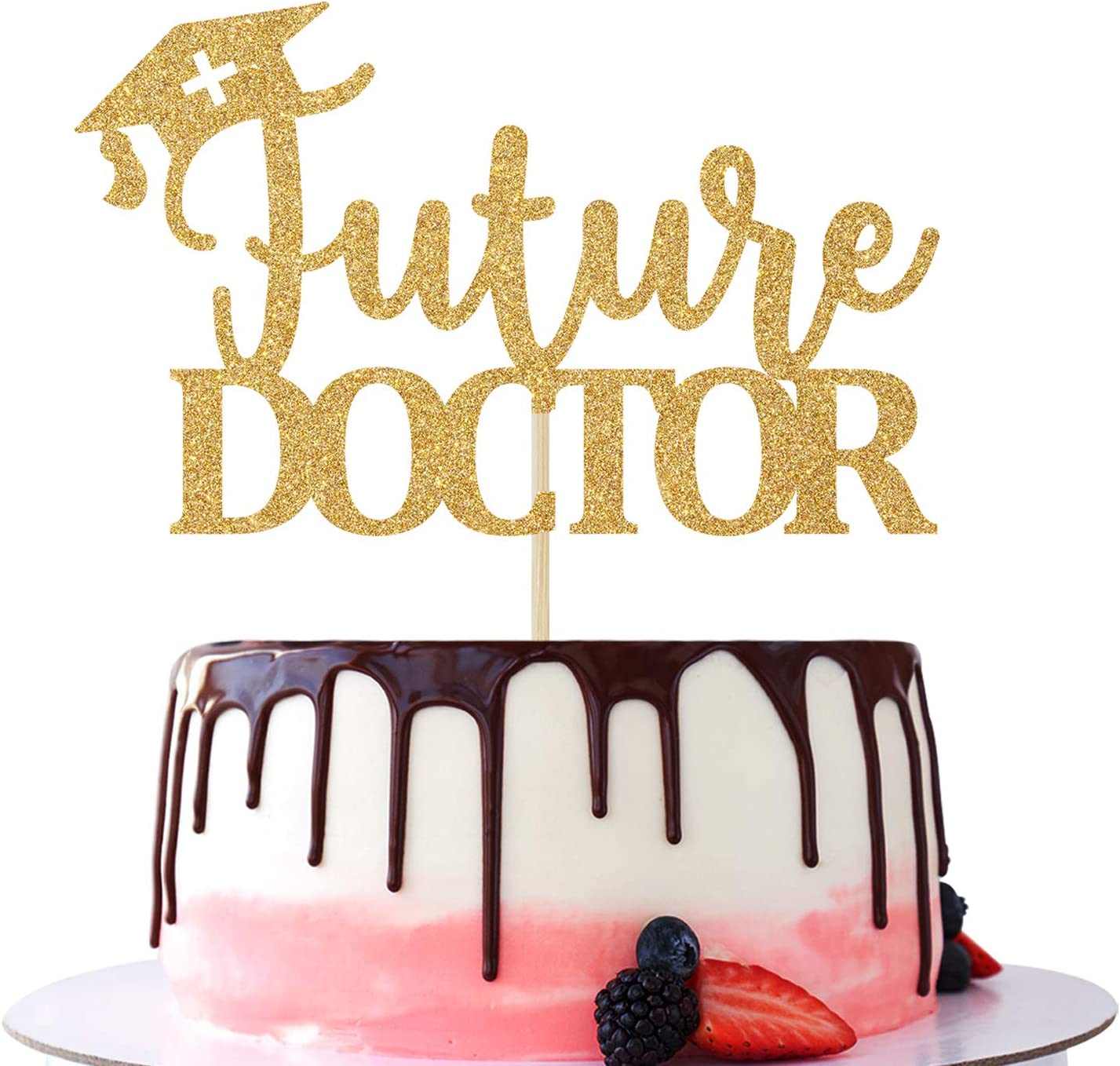 Future Doctor Cake Topper - Class of 2021 Congrats Grad, Medical School Doctor Themed Graduation Party Cake Decorations Supplies Mixed Gold Glitter