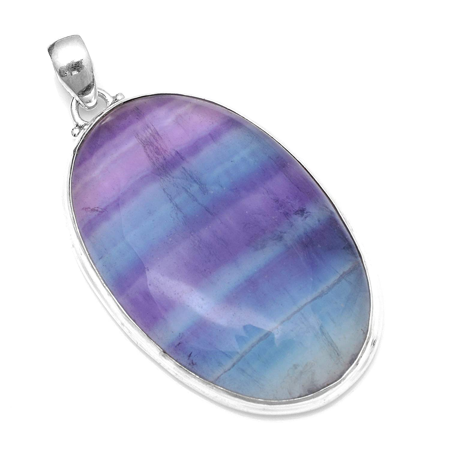 Silver Palace Sterling Silver Natural Flourite Pendant for Women and Girls