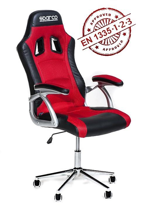 Omp Poltrone Ufficio.Poltrona Ufficio Racing Sparco Trophy Ergonomica Rossa E