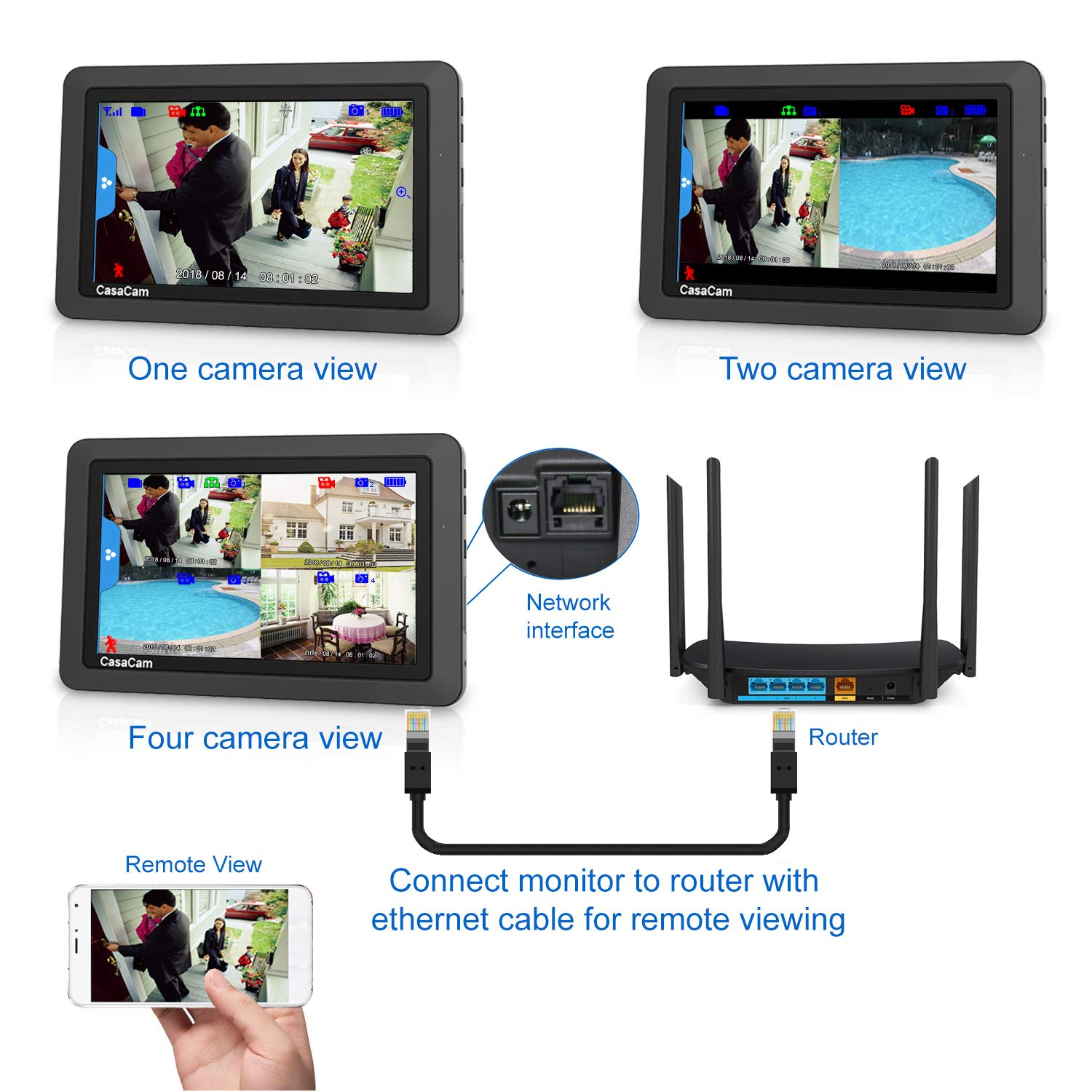 CasaCam VS802 Wireless Security Camera System with AC Powered HD Nightvision Cameras and 7'' Touchscreen Monitor (2-cam kit) by CasaCam (Image #3)