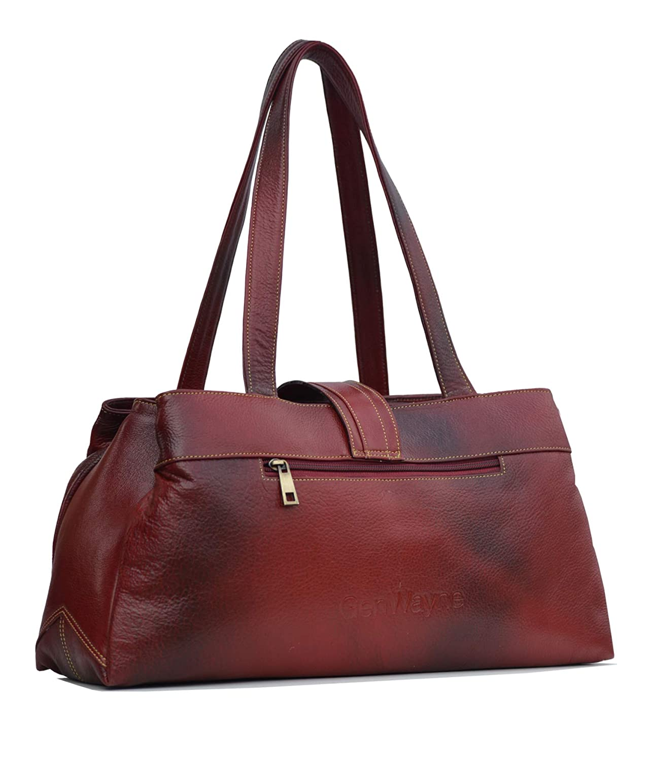 92d258945a GenWayne leather handbags for women cum shoulderbag (pure leather bag)  (Wine Red)  Amazon.in  Shoes   Handbags