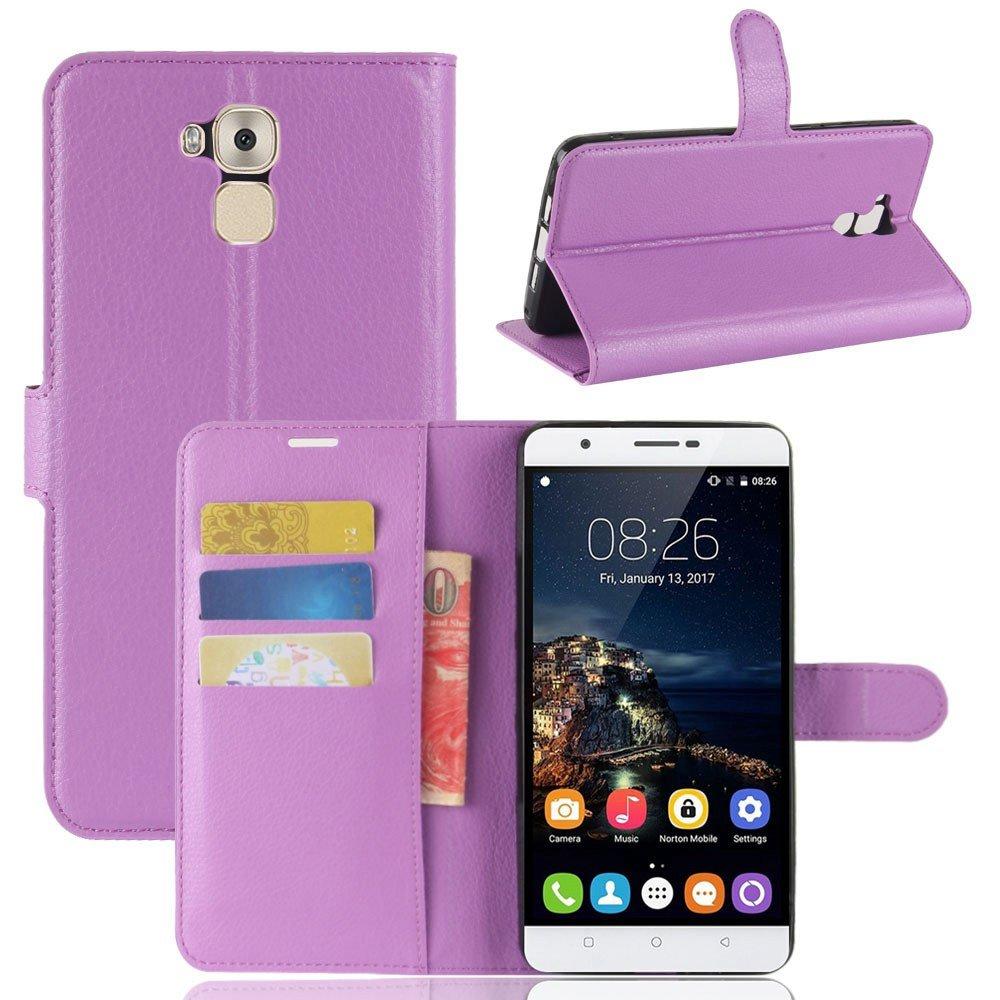 Guran® Funda de Cuero PU Para Oukitel U16 MAX Smartphone Función de Soporte con Ranura para Tarjetas Flip Case Cover Caso-púrpura Oukitel U16 MAX-8