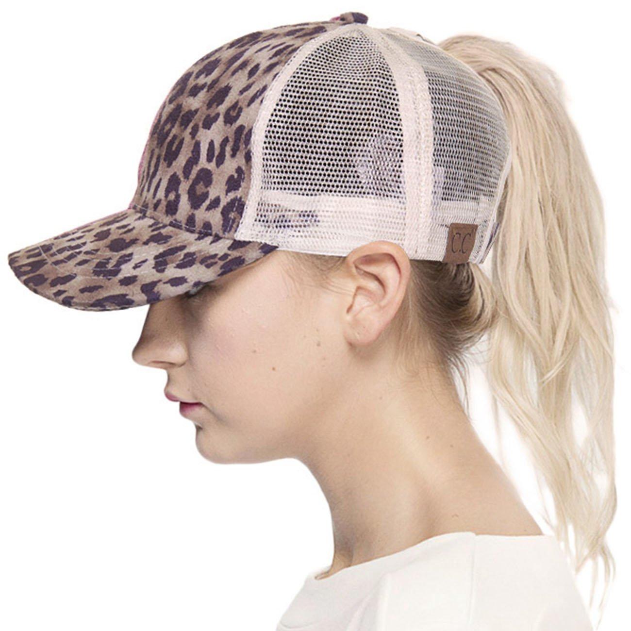 ScarvesMe C.C Exclusive Leopard Mesh Ponytail Messy Bun Ponycap Baseball Cap (Leopard)
