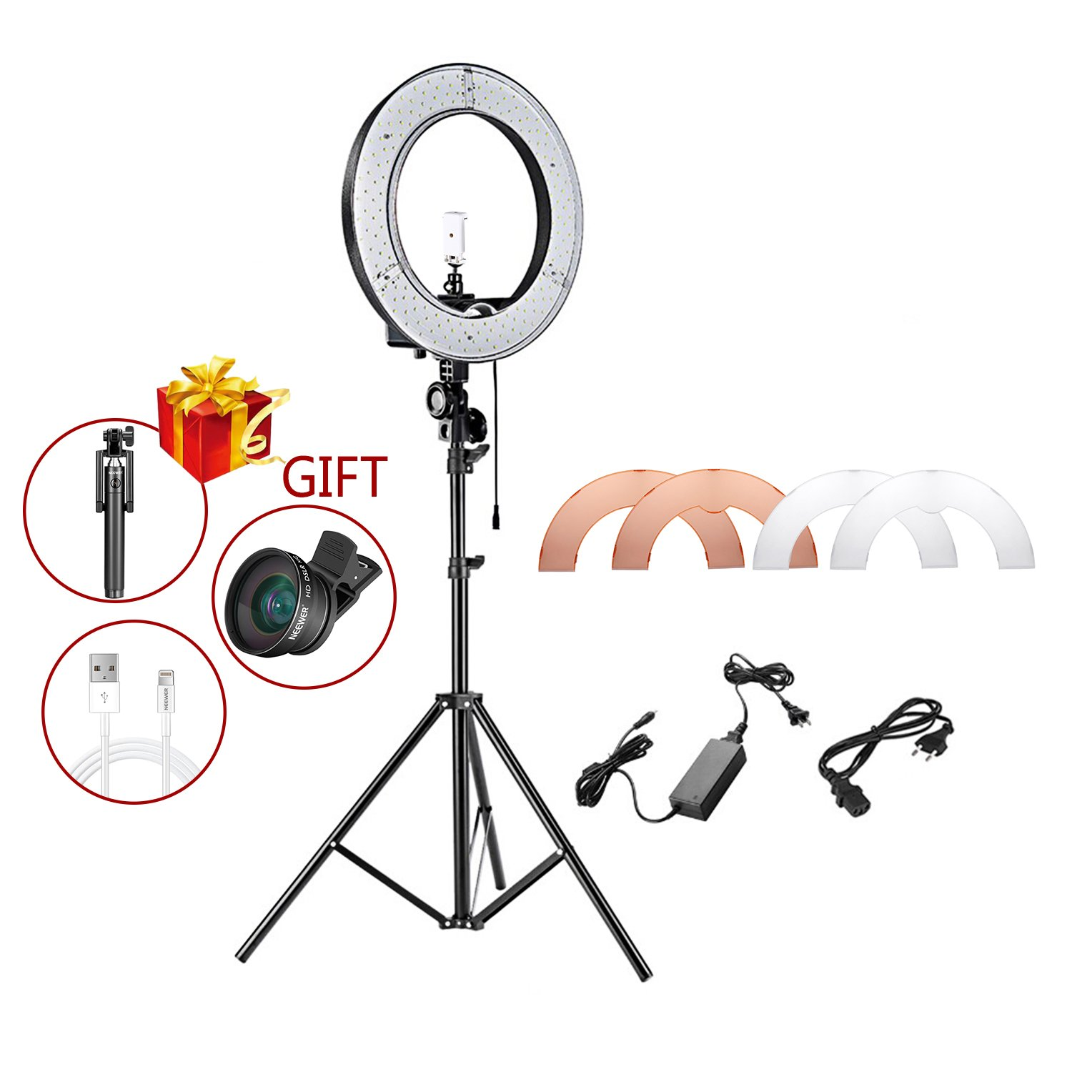 Neewer 12-inch Inner/14-inch Outer LED Ring Light and Stand Kit for Camera and Cellphone YouTube Video Shooting,Makeup Tutorials and Selfie Filming(PLUS: Selfie Stick,Phone Lens,Cable for iPhone) by Neewer