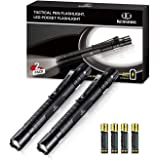 Flashlight Led Pen Pocket Light - [2 PACK] K KERNOWO Small EDC Tactical Penlight Waterproof with Clip Super Bright 240 High Lumens IPX6 for Camping, Automotive, Inspection (2AAA Batteries Included)