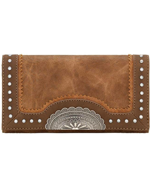 Bandana Women's Guns And Roses Studded Flap Wallet Medium Brown One Size