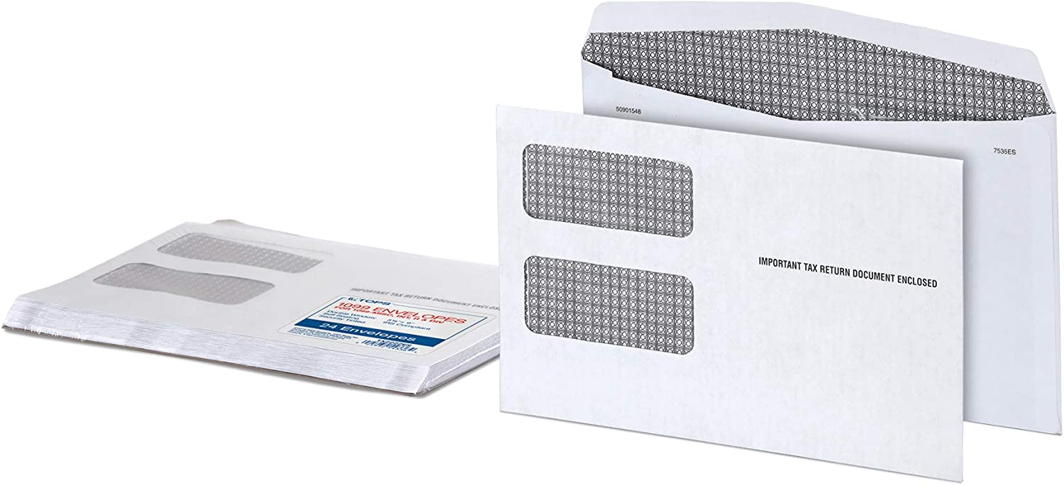 TOPS 1099 Miscellaneous Income and 1099-R Double Window Tax Form Envelopes Self-Adhesive Closure TX2222ES 24 Envelopes per Pack 9 x 5.625 Inches