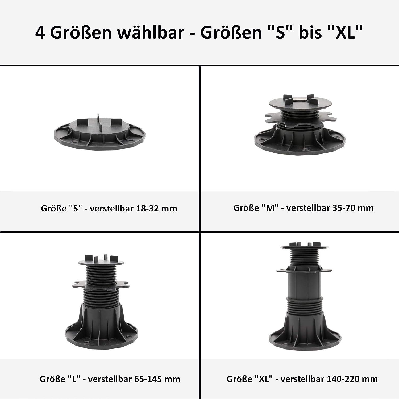 32 mm HORI/® Stelzlager f/ür Terrassen-Platten I h/öhenverstellbare Terrassenlager Plattenlager I vier Gr/ö/ßen w/ählbar I Gr/ö/ße 18