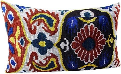16 x 24 Silk velvet ikat pillow cover Decorative pillows Double side ikat cushion,Handmade velvet ikat pillow Luxury home decoration