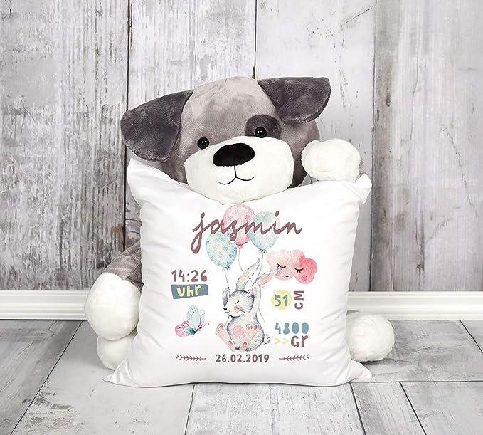 Geschenk Geburt Wunschname Geburtskissen Jungen M/ädchen SpecialMe/® personalisierbares Kissen zur Geburt Hei/ßluftballon Kissen-Bezug ohne F/üllung wei/ß Unisize