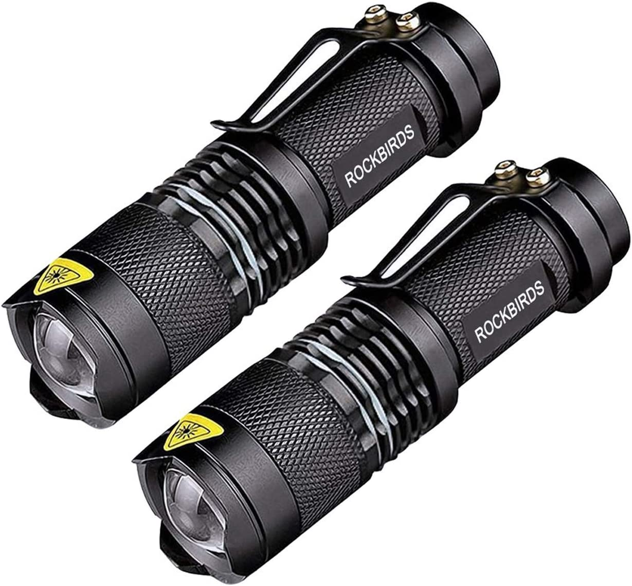 2 Pack Flashlights, ROCKBIRDS LED Flashlight with Belt Clip, 2 PACK