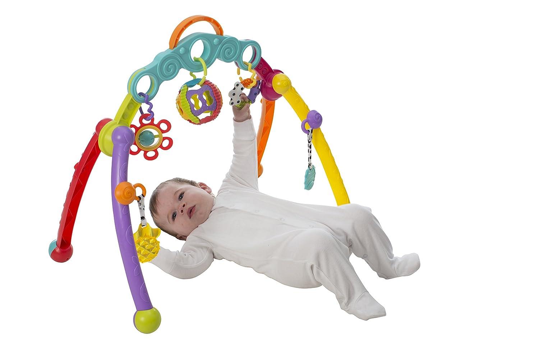 Multicolore 40173 Junyju Fold and Go Activitiy Playgym D/ès la Naissance Playgro Arche de Jeux Pliable Avec Jouets D/étachables