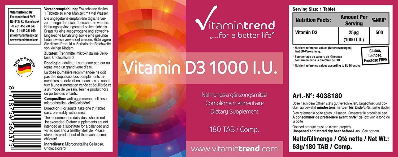Vitamina D3 1000 UI – ¡¡Bote para 6 MESES!! – Más concentrado que en forma líquida – Fabricado en Alemania – Colecalciferol – Vitamina ...