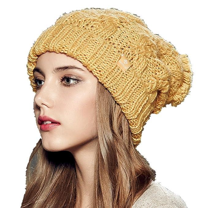 e6ba8a027e7 Kenmont Women Lady Winter Warm Earflap Ski Cap Hand Knit Wool Acylic Beanie  Hat (Mustard