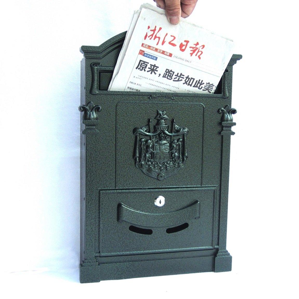 HZB ヨーロッパスタイルのヴィラ郵便受けアウトドアアンティークウォールタイプのメールボックス、黒っぽい緑   B07H83VHMD