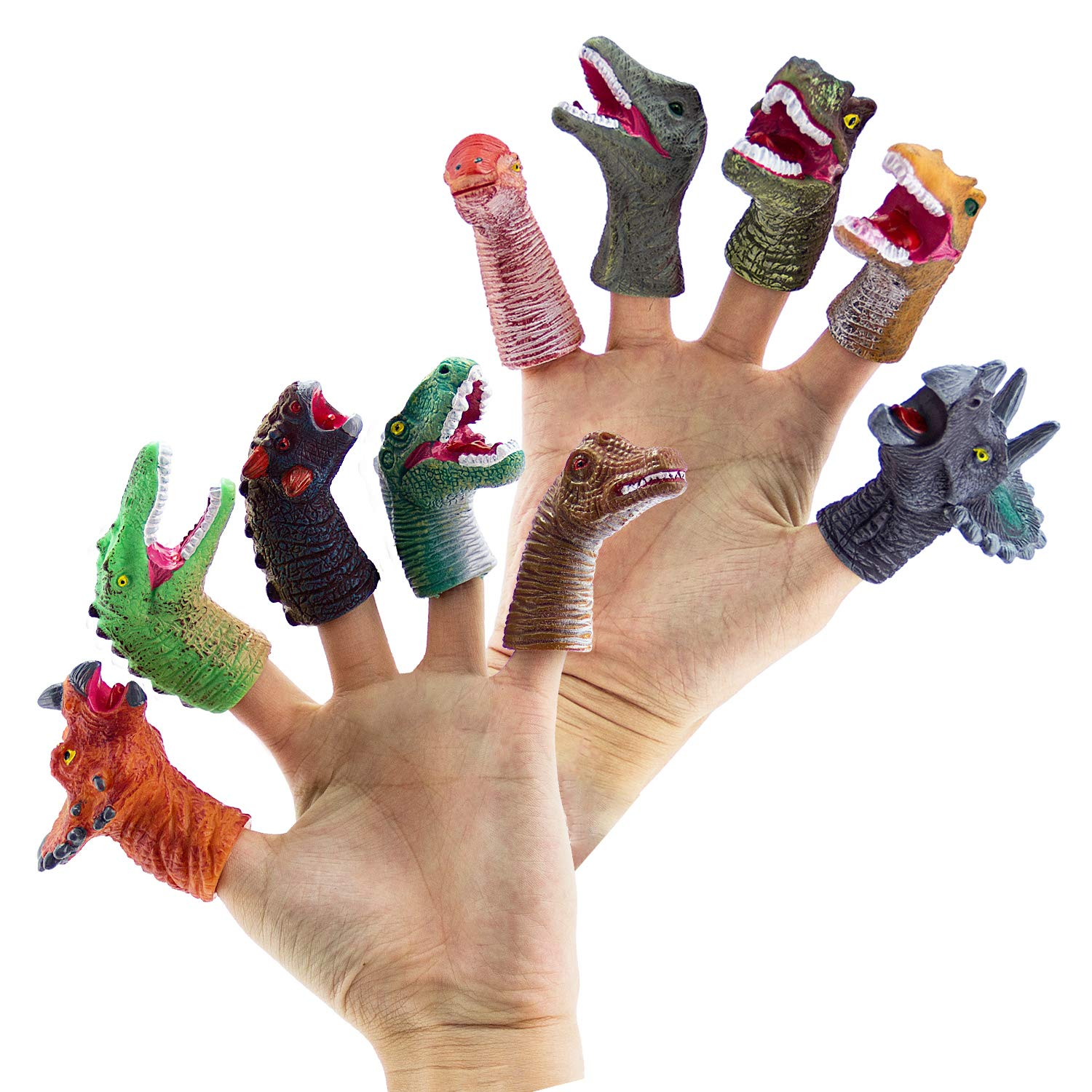 LITTLE SIENA 10pcs Realistic Dinosaur Finger Puppets Role Playing Toys Party Supplies Birthday Gift for Kids and Adults Great Party Favors