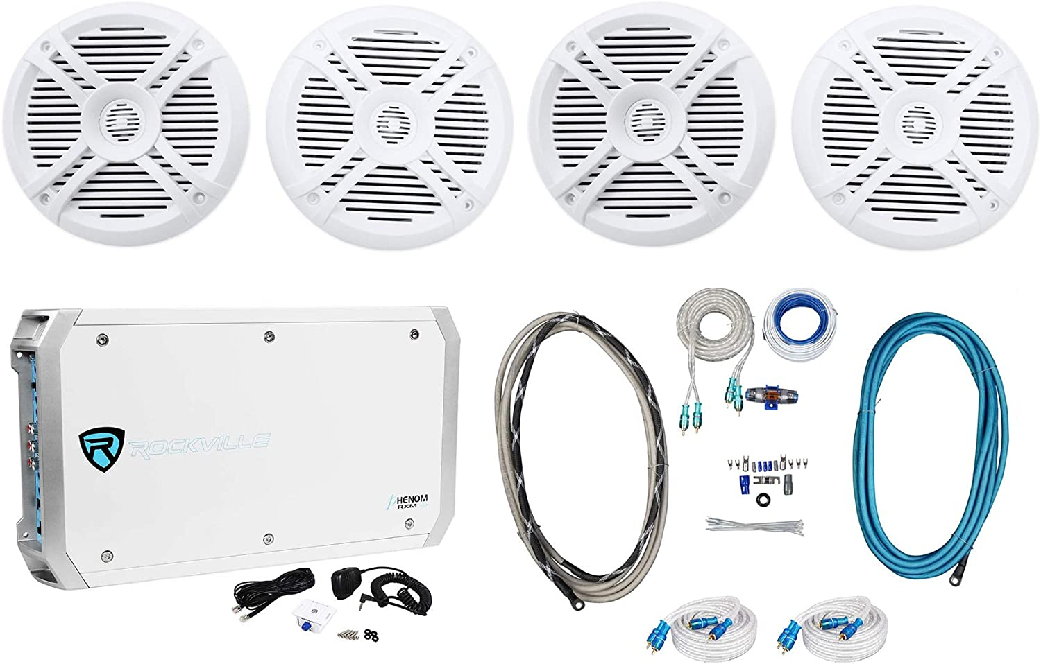 "(4) Rockville RMSTS65W 6.5"" 1600w Marine Boat Speakers+6-Ch Amplifier+Amp Kit"