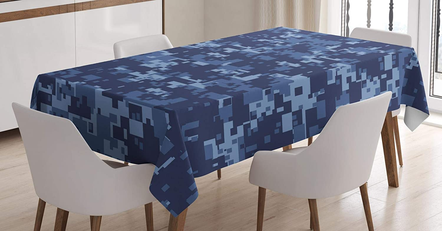 Ambesonne Camo Tablecloth, Retro Composition of Grunge Camouflage Pattern Print in Modern Blue Tones, Dining Room Kitchen Rectangular Table Cover, 60
