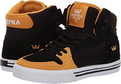 super popular cb3fb 729a7 Supra Kids Boy s Vaider (Little Kid Big Kid) Black Golden White