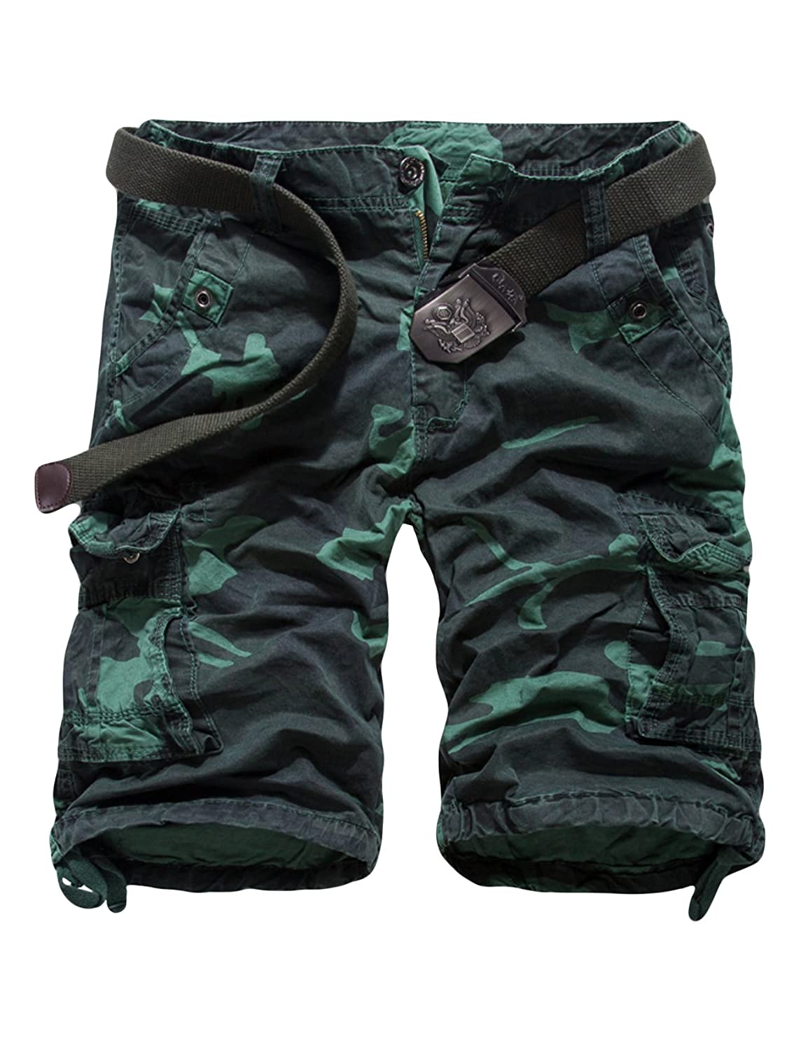 newrong Men's Cargo Shorts Camo Belted Relaxed Fit XZMYNC0492