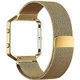 MLIYA Blaze Fitbit con telaio in alluminio, milanese in acciaio inox per Fitbit Blaze Smart Fitness, con blocco magnetico unico