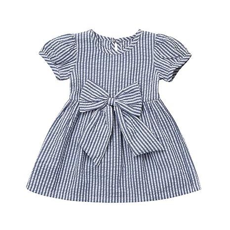 Beikoard - Vestido de niña de moda con rayas y lazo azul 70 ...