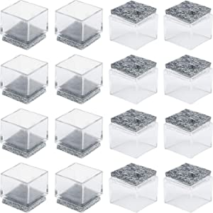 "Anwenk 1''x1"" Square Chair Leg Floor Protectors with Felt Pads 1inch 1 in Square Table Leg Protectors Chair Leg Caps Small, 16Pack,Clear"