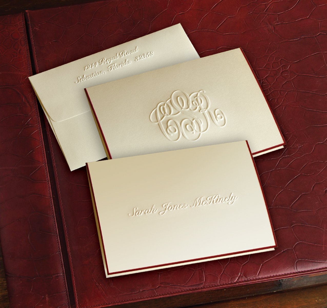 Wine Hand Bordered Embossed Fold Notes - 6232