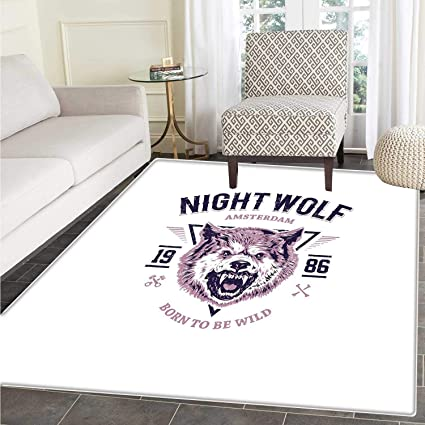 Amazon.com: Wolf Area Rug Carpet Born to be Wild Angry ...