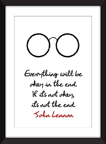 John Lennon Everything Will Be Okay Quote Unframed Print Amazonca