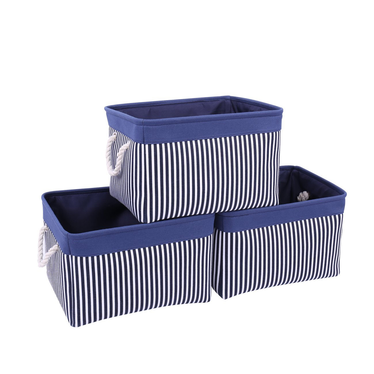 TcaFmac Large Navy Fabric Storage Basket Bin|3-Pack|Collapsible Canvas Storage Containers Organizing Baskets with Rope Handles Baskets for Gifts Empty Baby Basket (Navy Patchwork, 3-Pack) by TcaFmac