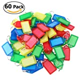 WINOMO Key Fobs Luggage Tags Labels with Key Rings (60pcs Random Color)