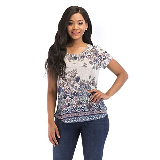 OneWorld Women s Floral Print Round Neck Short Sleeve T Shirt Curved Hem  Tops(Blue 006fe684db74