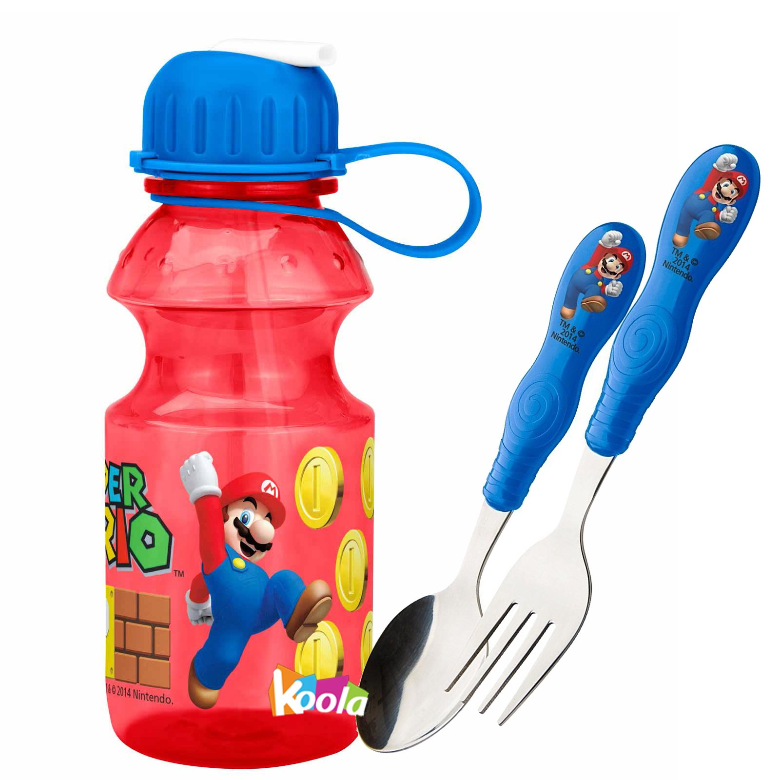 super mario brothers 14oz tritan plastic water bottle w/Spoon and Fork Flatware by super mario (Image #1)