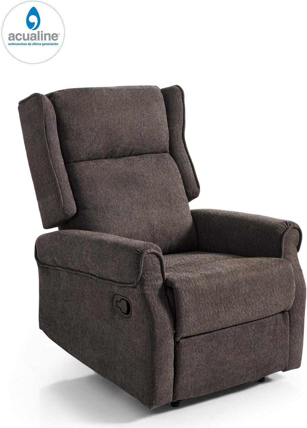 Butaca Relax British, tapizado aquaclean, Tela Antimanchas Gama Alta, sillón orejero reclinable con reposapies marrón Chocolate
