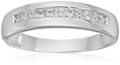 4c8b14e4fba16 Men's 14k White Gold Princess-Cut Diamond Wedding Band (1/2cttw, IJ Color,  I1-I2 Clarity)