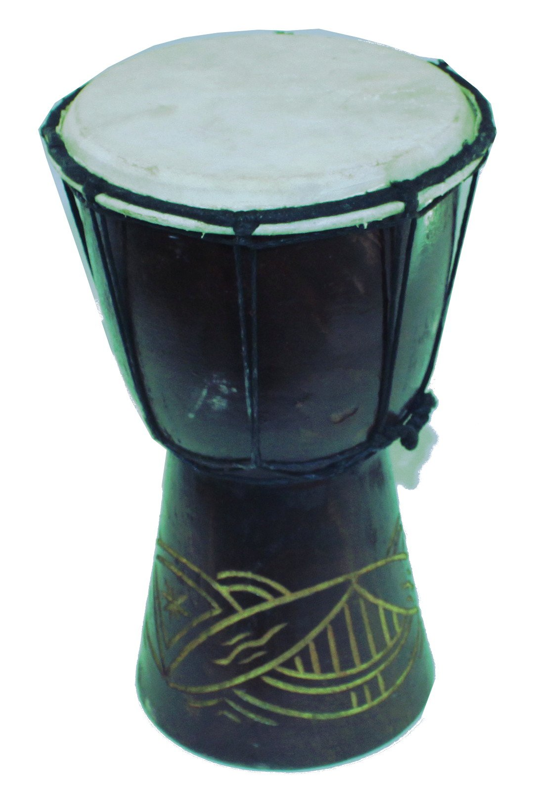 Djembe or Jembe Drum With nature and Animals carving from Jerusalem - Medium size ( 25 cm or 10 Inches high ) by Holy Land Market