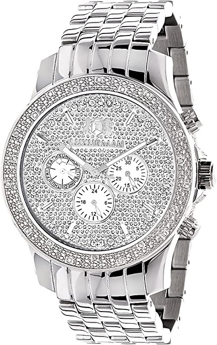 2bf5a2739f632 Amazon.com  LUXURMAN Mens Real Diamond Watch 0.25ct  Luxurman  Watches